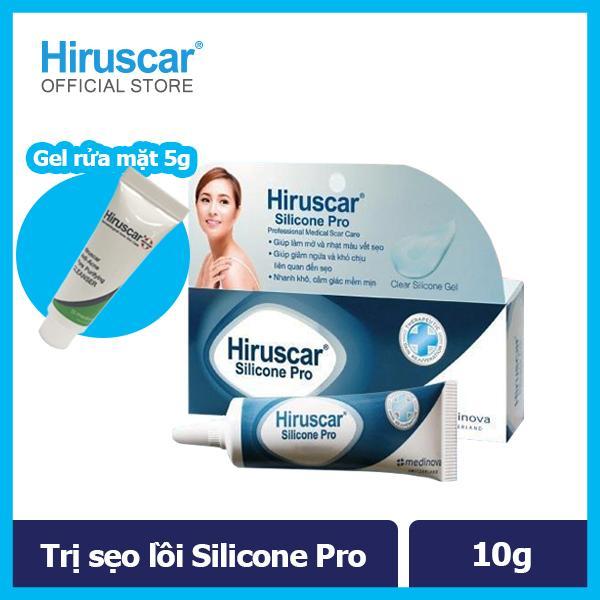 [Tặng sữa rửa mặt 5g] Gel Trị Sẹo Mổ, To, Lồi & Phì Đại Hiruscar Silicone Pro 10g nhập khẩu