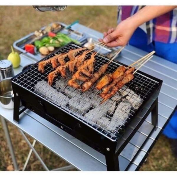 Bếp nướng than hoa vuông có chân không khói