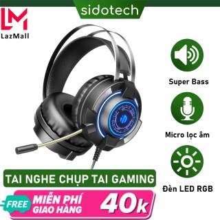 Tai nghe chụp tai gaming có mic có dây Sidotech over ear g3e âm thanh 7,1 siêu bass có micro 360 độ âm thanh vòm chụp tai lớn kín âm chống ồn đệm tai nghe êm ái thoải mái thumbnail