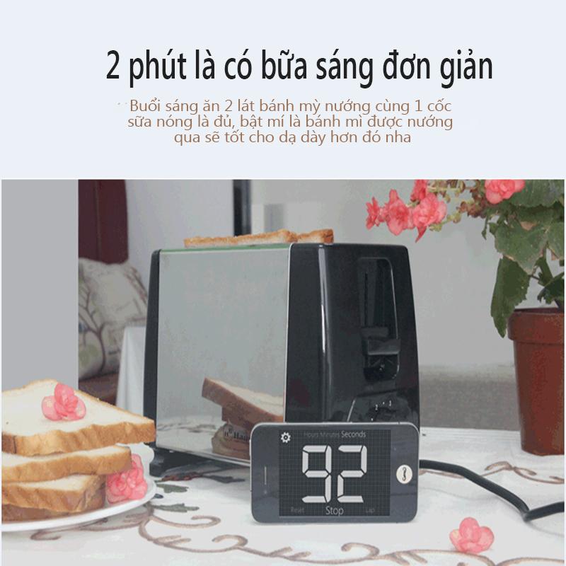 Máy nướng bánh mỳ tự động máy nướng bánh nướng 6 mức nhiệt tùy chỉnh máy làm bánh ăn sáng Điện máy bé XANH Angel wings