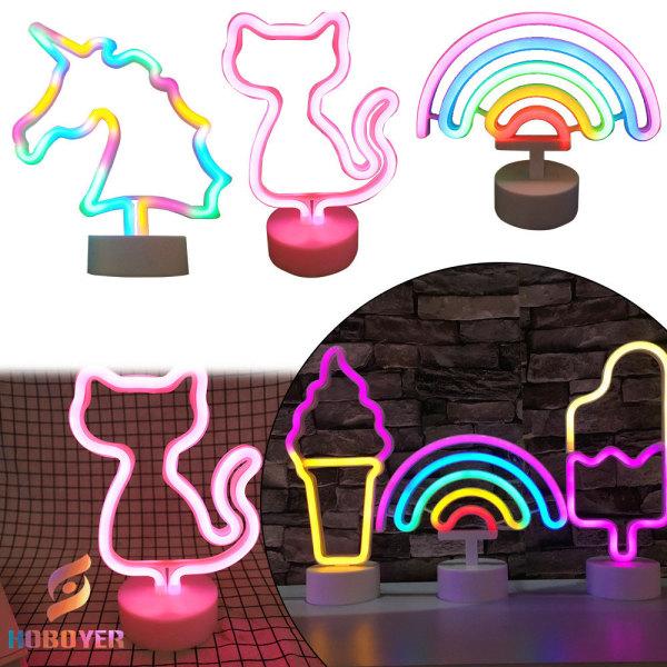 HOBOYER Đèn LED Neon Trang Trí Bàn, Kiểu Dáng Mẫu Hình Đa Dạng, Là Một Món Quà Tặng Ý Nghĩa