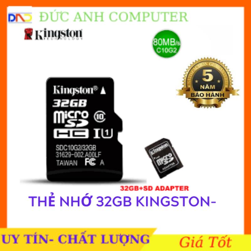 Thẻ nhớ Kingston 32GB tốc độ cao UHS1 Micro SDHC + Adapter - bảo hành 5 năm, có thiết kế nhỏ gọn