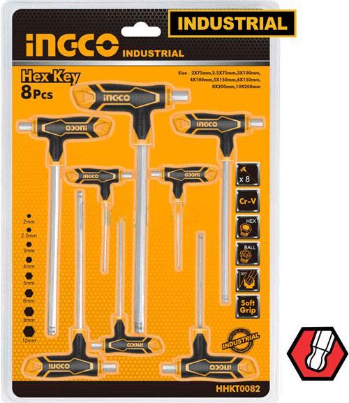 2-10mm Bộ lục giác chữ T Ingco HHKT8082