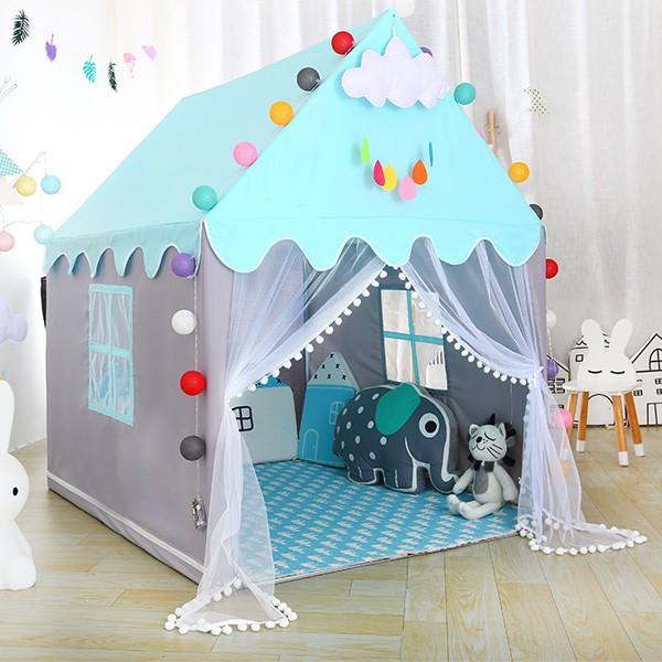 Lều Công Chúa Hoàng Tử cho bé trai bé gái cửa có rèm chống muỗi 2 màu xanh -hồng thumbnail