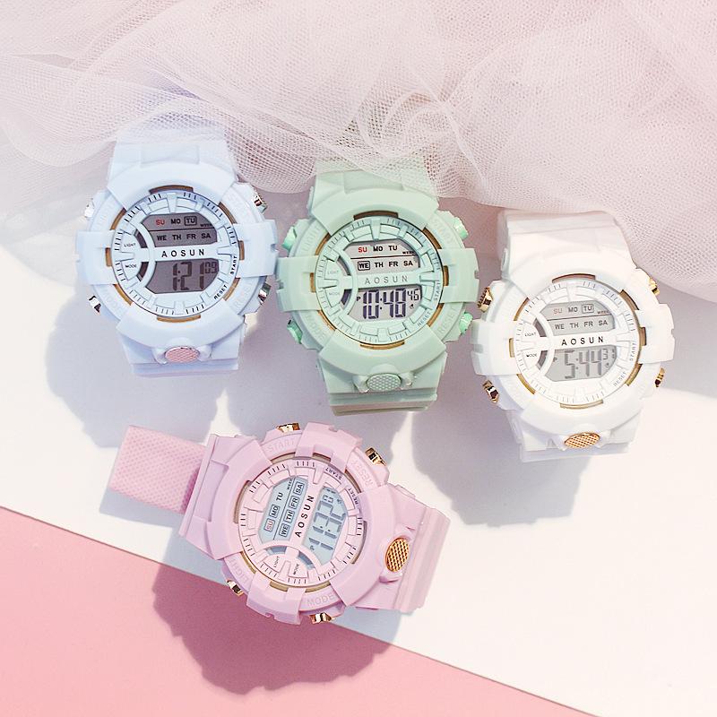 Nơi bán Đồng hồ điện tử nam nữ AOSUN Shhors phong cách thể thao năng động dây cao su chống thấm nước