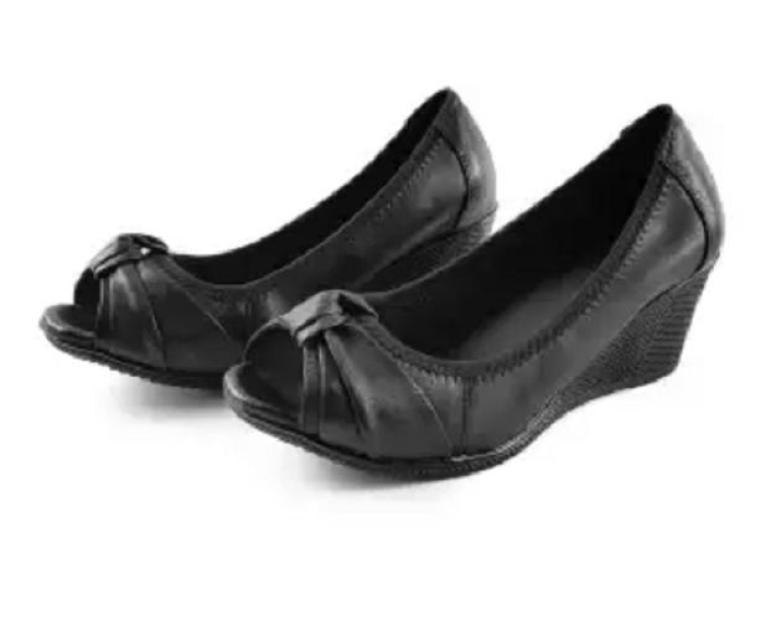 Giày da nơ cuộn hở mũi giá rẻ