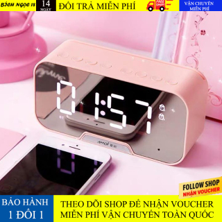 Loa bluetooth không dây màn hình led kiêm đồng hồ báo thức, làm đèn ngủ, đo nhiệt độ phòng với mặt kính tráng gương, pin trâu hỗ trợ dây AUX và thẻ nhớ loa giá rẻ thumbnail