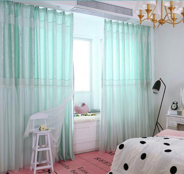 Rèm vải dày che nắng tốt cách nhiệt rèm 2 lớp xinh xắn 4m x 2.7m xanh