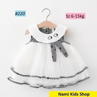 Váy voan 2 tầng họa tiết caro trái tim hàng Quảng Châu cao cấp cho bé