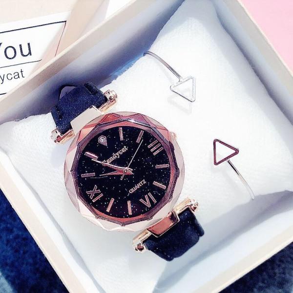 Đồng hồ thời trang nữ Candycat mặt số la mã dây da nhung mẫu mới J046