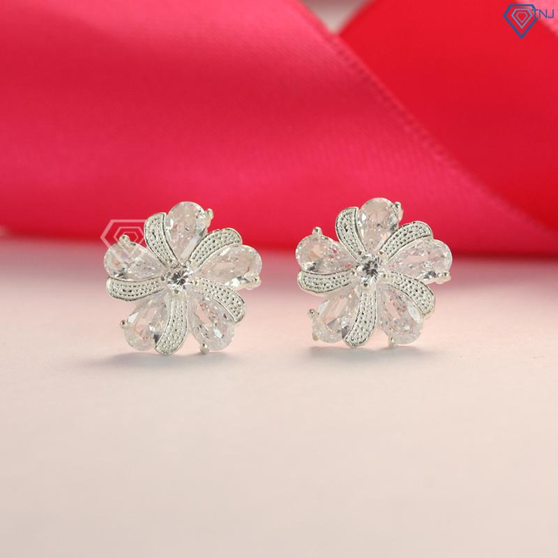 Bông tai bạc nữ đẹp hình bông hoa đính đá BTN0078 - Trang Sức TNJ