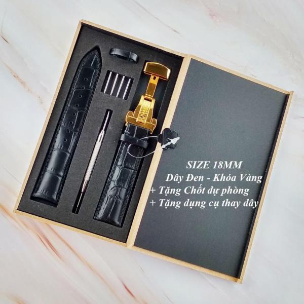 Dây đồng hồ da bò cao cấp tặng Hộp Gỗ SIZE 18mm ( Da ĐEN) kèm khóa bướm thép không gỉ 316L (VÀNG) bán chạy