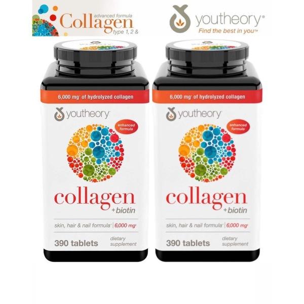 Viên Uống Youtheory Collagen type 1, 2 & 3 + Biotin 6000mg chai 390 viên Date 2022 giá rẻ