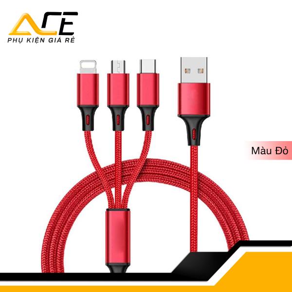 Giá Cáp sạc đa năng ( bọc dù ) 3 trong 1 gồm Lightning - Micro USB - Type C