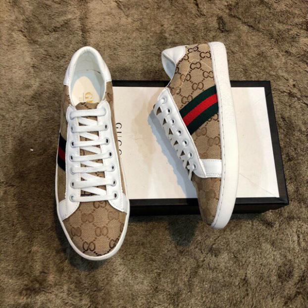 Giày sneaker họa tiết nam - GGG nâu đế trắng - B end T Shop giá rẻ