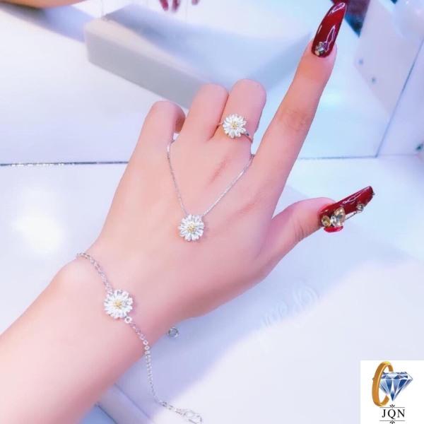 Bộ trang sức bạc hoa cúc  (3 món: dây chuyền nhẫn lắc tay)-JQN gian hàng chính hãng cam kết Bạc chuẩn, Chất lượng không lo đen xỉn