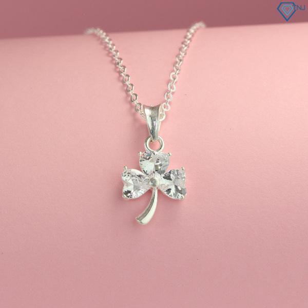 Vòng cổ bạc nữ đẹp - Dây chuyền nữ bạc 925 mặt cỏ 3 lá đính đá trắng DCN0465 - Trang Sức TNJ