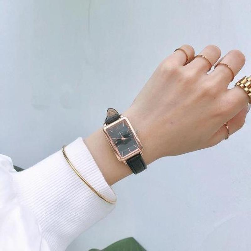Đồng hồ nữ Jigin mặt chữ nhật dây da mềm mỏng ôm tay, chống nước 3 ATM, mặt kính Mineral có độ cứng cao