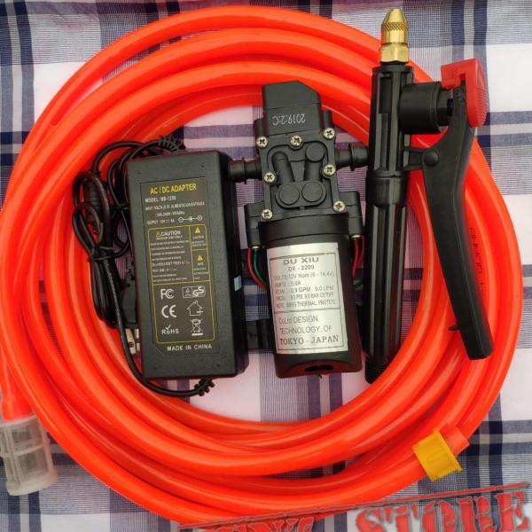 Máy rửa xe mini 12V-60W 9M giá rẻ đầy đủ phụ kiện, máy xịt rửa mini đa năng
