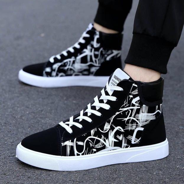 Giày cao cổ nam da lộn họa tiết đen trắng siêu ngầu giá rẻ