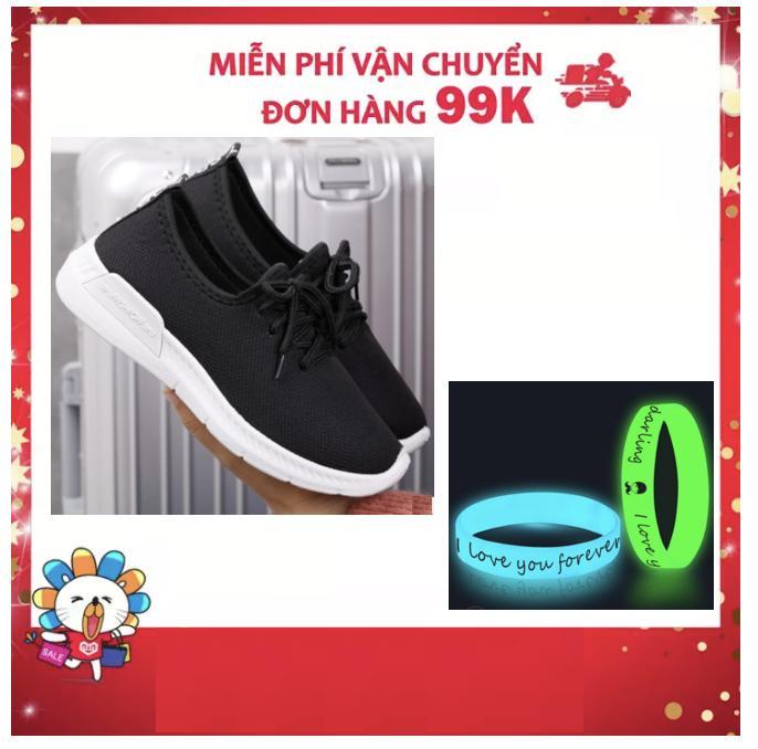 Giày thể thao nam G145 Giày thể thao nam G119 (Full đen ) Giày thể thao nam G144 (Đen Đỏ) + Tặng vòng tay dạ quang phát sáng nam nữ đeo được và đẹp