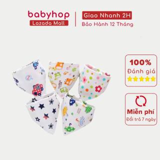 Yếm xô tam giác cúc bấm in hình ngộ nghĩnh cho bé 100% cotton - random mẫu ngẫu nhiên giá 1 chiếc thumbnail