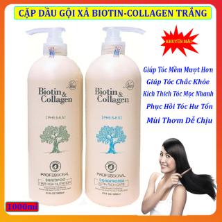 Dầu Gội Xả Biotin Collagen [Trắng] Giúp phục hồi ngăn rụng kích thích mọc tóc 1000mlx2 . Tái Tạo Cấu Trúc Của Tóc ,giúp Mềm Mượt Tóc thumbnail