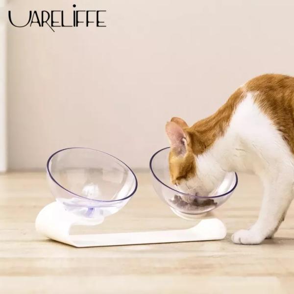 Bát ăn đôi thông minh Uareliffe JJ cho thú cưng chất liệu tốt trong suốt có đế nâng dùng cho đồ ăn khô và ướt - INTL