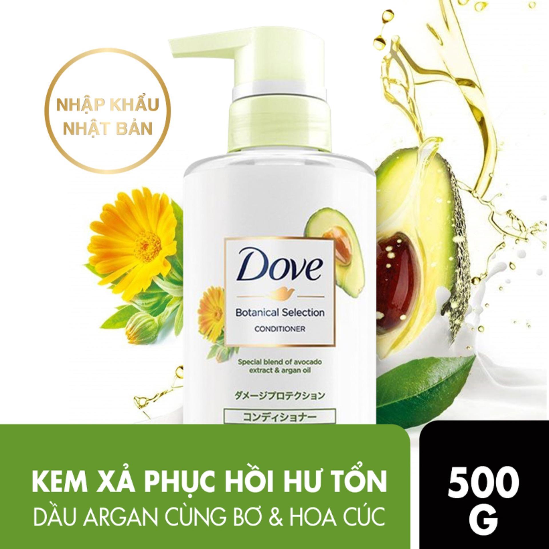 Kem Xả Dove Botanical Selection Phục Hồi Hư Tổn Chiết Xuất Bơ Và Dầu Argan  500g, Giá tháng 9/2020