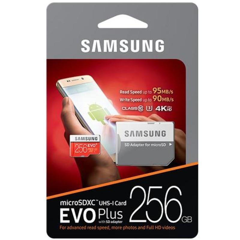 Thẻ nhớ MicroSD Samsung EVO Plus 4K 256GB 100MB/s 256GB Box Anh - Hàng Chính Hãng