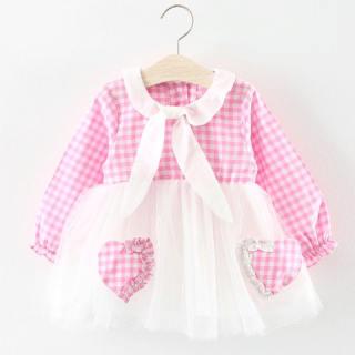 Đầm Trẻ Em Dự Tiệc Sinh Nhật Gấu Leader, Quần Áo Trẻ Em Bé Gái Dài Tay Mùa Xuân Và Mùa Thu Mới Đầm Chắp Vá Công Chúa Cho Trẻ Sơ Sinh Kẻ Sọc Tình Yêu Dễ Thương Váy Lưới Hai Tình Yêu Trong 6-24 Tháng