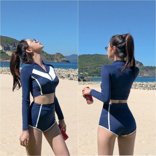 Đồ bơi nữ kín đáo tay dài quần đùi cho học sinh bikini 2 mảnh Tặng kèm mút lót ngực ngực tôn dáng quyến rủ gợi cảm chất liệu thun lạnh co dãn 4 chiều chất dày thoải mái DBN012 thumbnail
