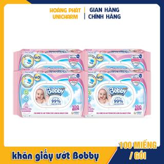 Combo 4 gói khăn giấy ướt Bobby Care gói 100 tờ thumbnail