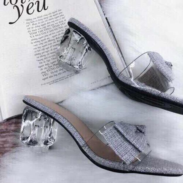 Giày cao gót vuông 5p bản trong nơ vải LZ025 giá rẻ