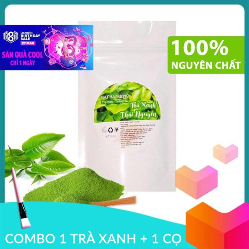 COMBO Bột trà xanh Thái Nguyên đắp mặt nguyên chất gói 100g + Cọ quét mặt nạ nhập khẩu