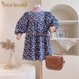 Gấu Leader Cô Gái Mùa Thu Váy Hoa Thời Trang Mới Trẻ Em Mùa Xuân Tay Áo Dài Dresses Trẻ Em Hoa Trang Phục Trang Phục Giản Dị 3-7Y