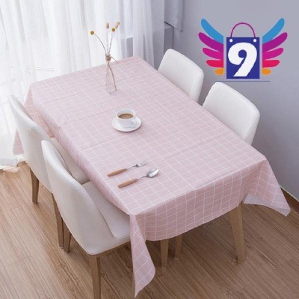 Khăn trải bàn decor PVC không thấm nước 9STORE họa tiết sọc caro (Mẫu 2)