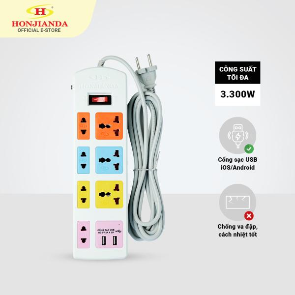 Bảng giá Ổ cắm điện đa năng Honjianda Có USB Mã 04 Dây 3m/5m - an toàn chống quá tải