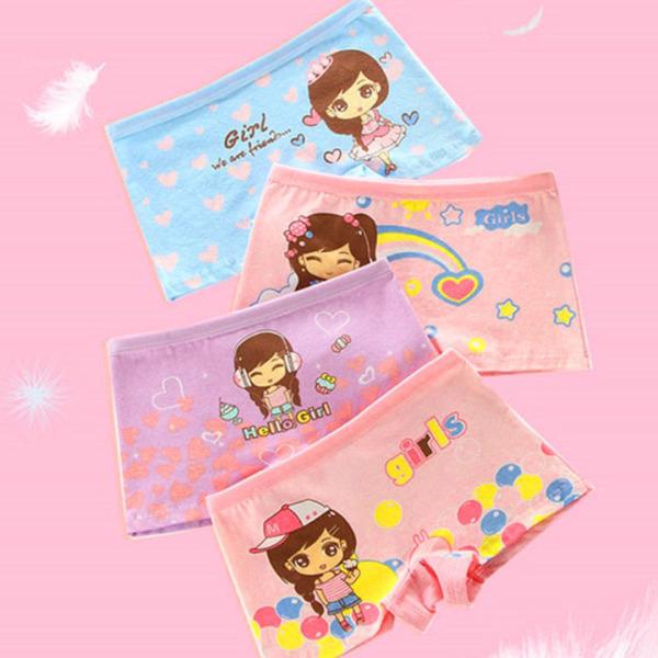 Giá bán Quần chip đùi cotton hình cô bé nhiều màu sắc cho bé gái 2-12 tuổi BBShine – C005