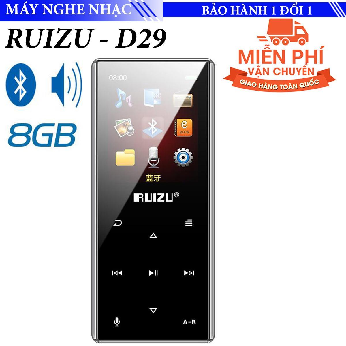 Máy nghe nhạc Bluetooth Mp3 Ruizu D29 Bộ nhớ trong 8Gb - viền cắt CNC điều khiển cảm ứng