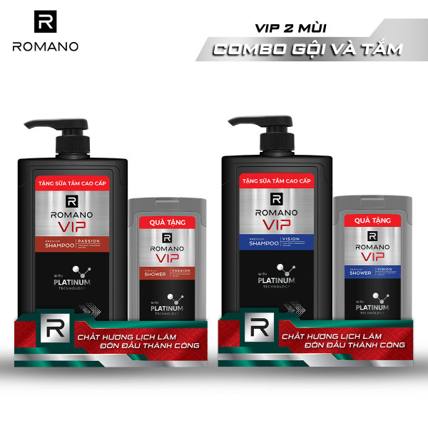 [Freeship][Tặng Vớ ON/OFF đơn 249k] Dầu gội Romano Vip 650g + Sữa tắm Romano Vip 150g Passion/Vision cao cấp