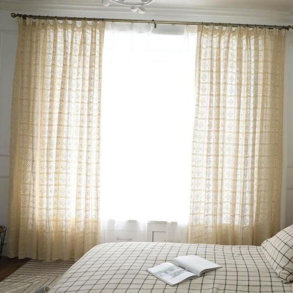 Hollow Out Light Transmission Curtains For Living Room European Lace Sheer Curtains For Window Bedroom Lace Curtains Fabrics Drapes