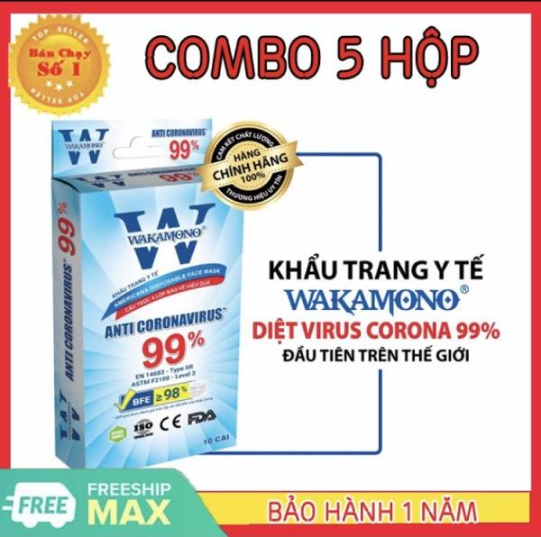 [HCM][ COMBO 5 HỘP ] KHẨU TRANG Y TẾ WAKAMONO Diệt Virus Corona đầu tiên trên thế giới - Đạt tiêu chuẩn Châu Âu CE & Mỹ FDA