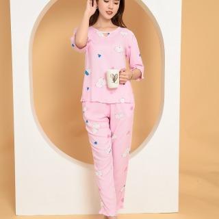 Bộ mặc nhà quần dài áo tay lỡ nữ Việt Thắng B09.2010 - Chất liệu lanh mềm mại, thấm hút, mặc thoải mái thumbnail