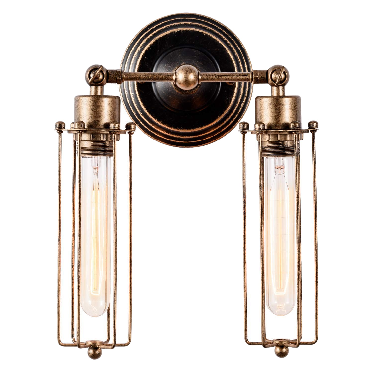 Applique Industrial Wall Sconce Old Luminaire Tube Light Shade Vintage Applique Retro For Home Champagne Coffee (bulbs Not Included) (2 Lights).