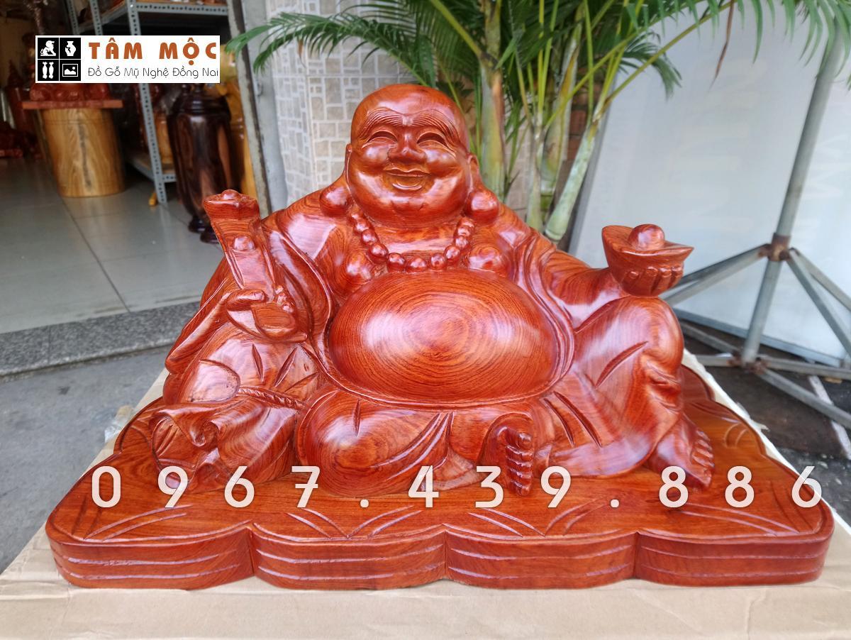 Mua Tượng gỗ Phật Di Lặc ngồi đế tiền ngang 48cm