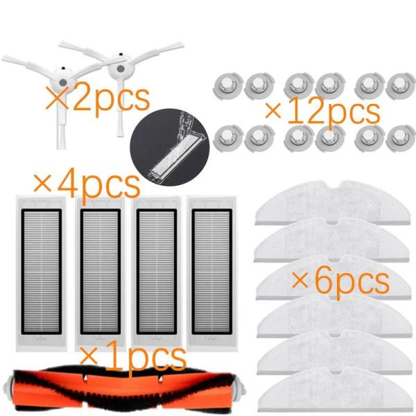 25Pcs/Lot New Main Brush Hepa Filter Side Brush Mop Cloths Kit For Xiaomi Mijia Robot Roborock S50 S51 Roborock