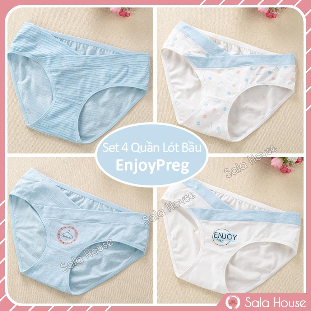 [HCM]Set 4 QUẦN LÓT BẦU CẠP CHÉO EnjoyPreg SalaHouse chất cotton co giãn 4 chiều cho mẹ bầu và sau sinh - QL01