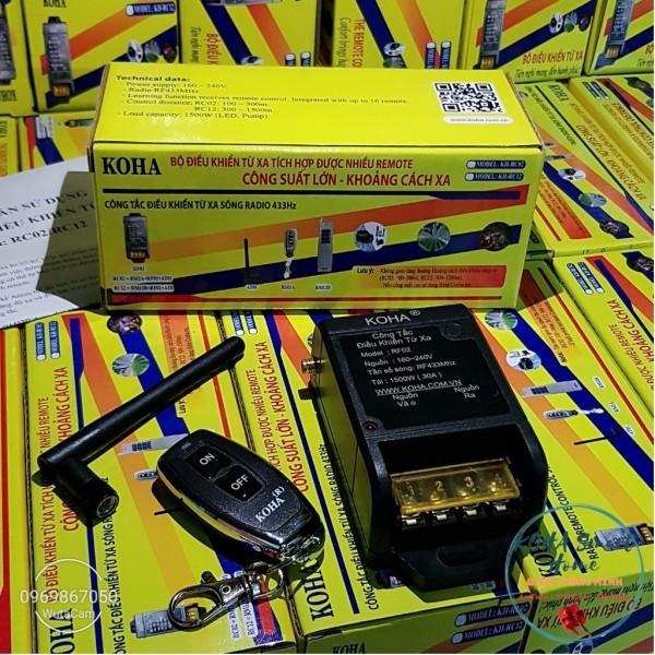 Công tắc điều khiển từ xa RC02/300m/30A/220V/433Mhz có angten kèm theo, bật tắt máy bơm, đèn từ xa