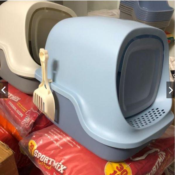 HCM HP- Nhà vệ sinh cho mèo Size lớn (có 4 loại ) tặng kèm xẻng (màu ngẫu nhiên) - nha ve sinh meo - khay đựng cát mèo - cat ve sinh meo - hop dung cat meo - nha meo - long meo -